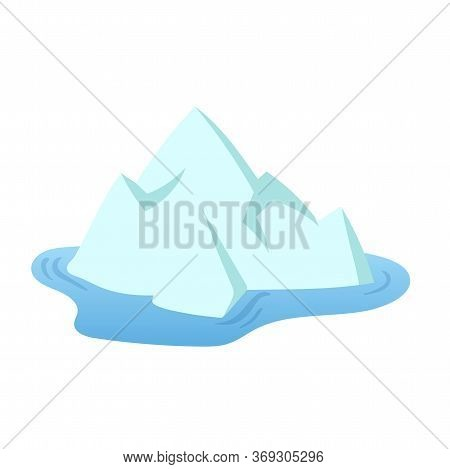 One Iceberg Floating In The Sea, Tip Of The Iceberg. Landscape Design Element In Flat Style. Flat Ve