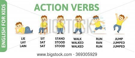 Action Verbs Tenses With Chartoon Character. English For Kids Playcard. Word Card For English Langua