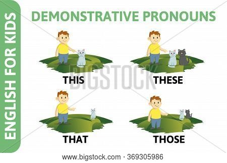 English For Kids Playcard. Demonstrative Pronouns That, Those, This, Thes, Game-card With Text And C