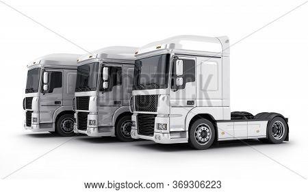 Three White Big Truck On White Background. 3d Illustration