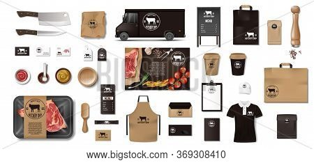 Variety Of Food In The Butcher Shop. Restaurant Brand Identity Mockup Set. Branding Packaging Elemen
