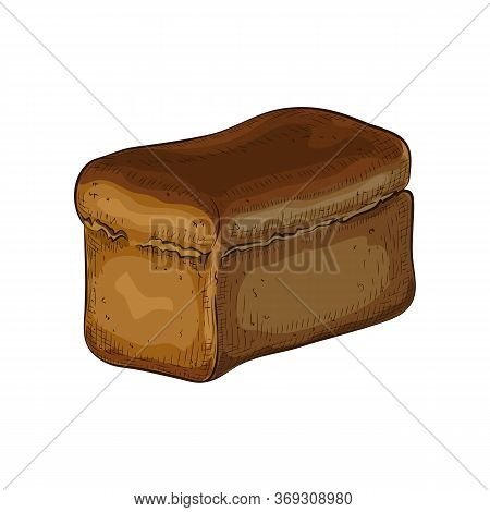 Rye Bread Isolated On White Backdrop. Hand Drawn Traditional Dark Brown Loaf Doodle Icon. Fresh Bake