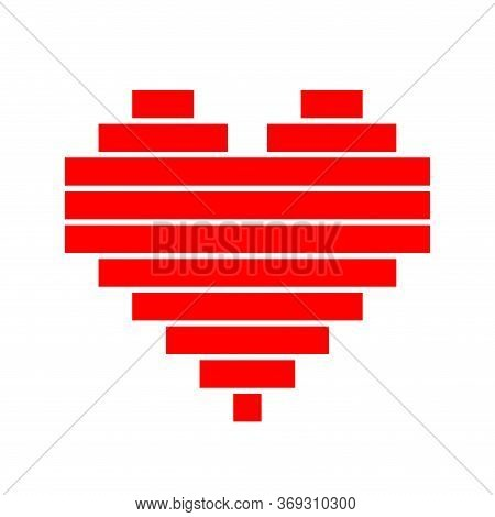 Heart Shape Red Horizontal Strip Isolated On White, Square Red Pixel Heart Shape For Clip Art, Cute