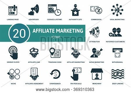 Affiliate Marketing Icon Set. Collection Contain Affiliate, Link, Attribution, Authority Site, Charg