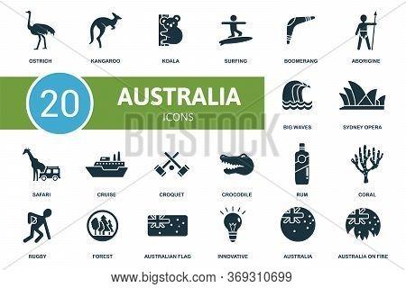 Australia Icon Set. Collection Contain Kangaroo, Koala, Boomerang, Opera, Australia And Over Icons.