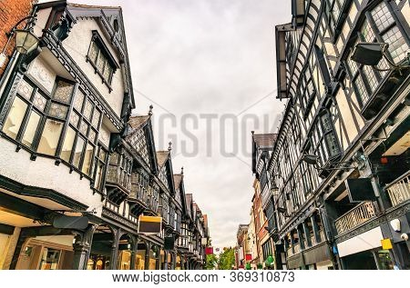 Traditional English Architecture In Old Town Of Chester - England, Uk