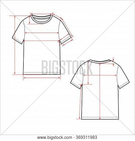 Women's Simple T-shirt Design. Apparel Template, Fashion Flat Sketch Vector. T Shirt Scheme With Arr