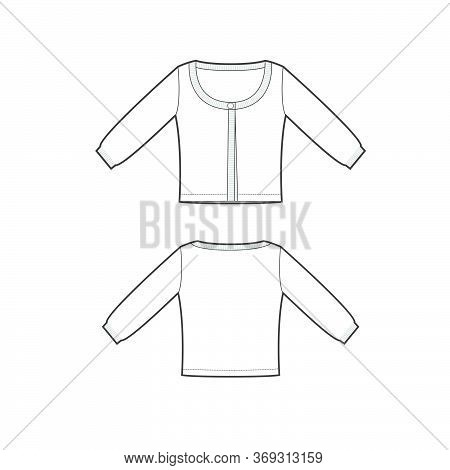 Vector Template Of Pullover With Long Sleeves Front And Back Parts. Jersey Cardigan Template. Female