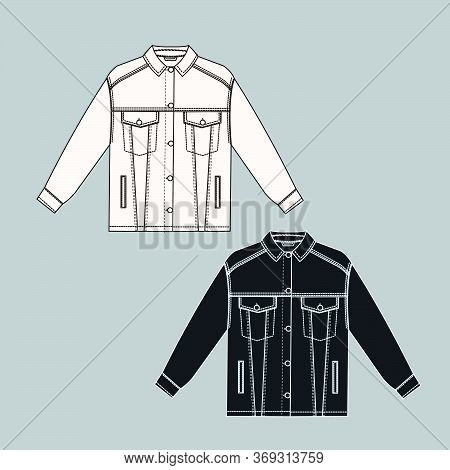 Female Jeans Jacket Technical Sketch White And Black Colors. Cloth Technical Sketch. Outline Fashion