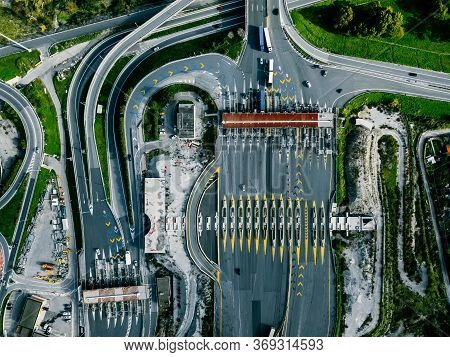Aerial View Gate For Expressway Fee Payment In The City, Toll Collection Point On The Motorway