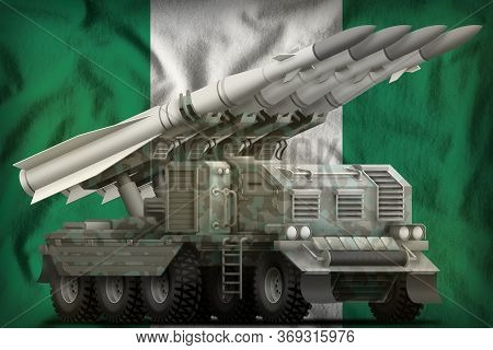 Tactical Short Range Ballistic Missile With Arctic Camouflage On The Nigeria Flag Background. 3d Ill