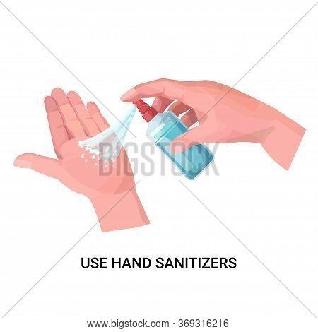 Human Hands Applying Antibacterial Spray Disinfection Against Virus Bacteria Stop Coronavirus Use Ha
