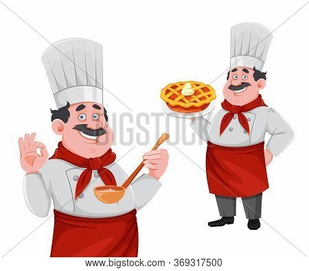 Handsome Chef Cartoon Character, Set Of Two Poses. Cheerful Cook In Professional Uniform. Vector Ill