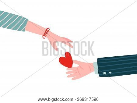 Gift Heart On Valentines Day. Male Hand Holding Heart In Palm And Giving In To Female Hand. Man Hold