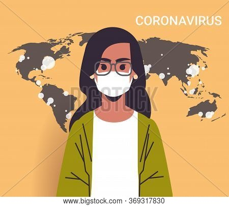 Woman Tv Reporter In Face Mask Showing World Map Outbreak Of Coronavirus Pandemic Spread Infection E