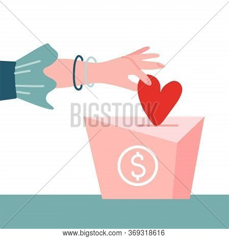 Female Hand Pushing Heart Love In Box Charity And Donation Concept. Flat Vector Illustration. Contai