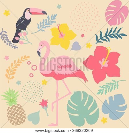 Funny Tropical Background With Pink Flamingos With Flowers, Toucan, Pineapple, On Pastel Background.