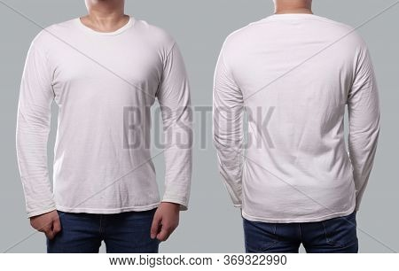 Anonymous Male Model Wear White Long Sleeve T-shirt Isolated On Grey Background, Front And Back Desi