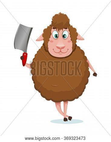 Eid Al-adha Mubarak. Traditional Muslim Holiday. Kurban Bayrami. Funny Cartoon Character Sheep Holdi
