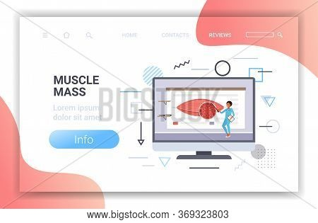 Doctor Explaining Anatomy Of Human Muscles Presentation On Computer Screen Healthcare Muscle Mass Co