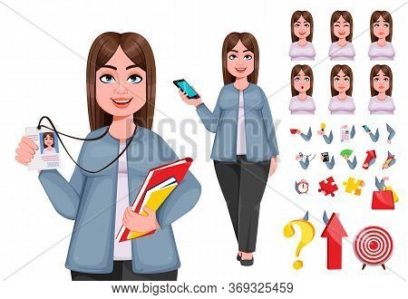 Happy Large Business Woman, Woman Of Plus Size, Pack Of Body Parts, Emotions And Things. Cheerful Ch