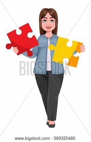 Happy Large Business Woman, Woman Of Plus Size Holding Two Pieces Of Puzzle. Cheerful Chubby Busines