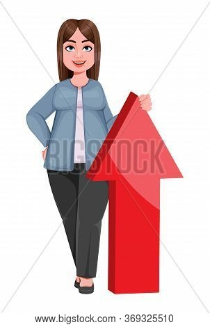 Happy Large Business Woman, Woman Of Plus Size Standing Near Big Red Arrow. Cheerful Chubby Business