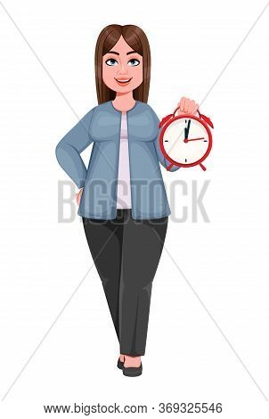 Happy Large Business Woman, Woman Of Plus Size Holding Alarm Clock. Cheerful Chubby Businesswoman Ca