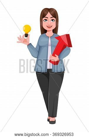 Happy Large Business Woman, Woman Of Plus Size Having A Good Idea. Cheerful Chubby Businesswoman Car