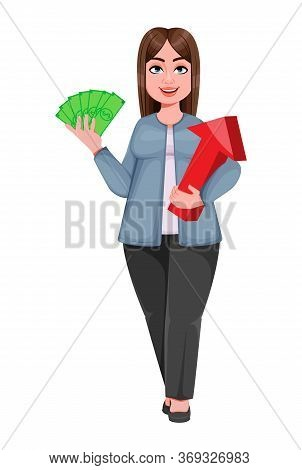 Happy Large Business Woman, Woman Of Plus Size Holding Money And Arrow. Cheerful Chubby Businesswoma