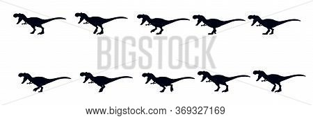 A Set Of Walking Of Tyrannosaur. Sprites For Animation