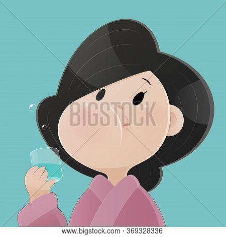 Woman Rinsing And Gargling While Using Mouthwash From A Glass. During Daily Oral Hygiene Routine. De