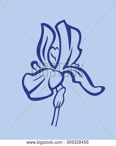 Iris Flower - Coloring Book. Stylized Iris Flower - Linear Logo, Illustration In A Flat Style