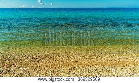 Croatian Mediterranean Sea Rocky Coastal Beach. Novalja, Northern Croatia.