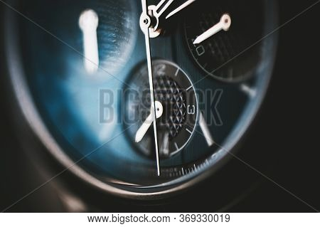 Timepiece Theme. Luxury Mens Hand Watch Detailed Close Up. Luxury Goods