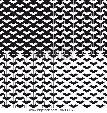 Triangular Abstract Background Or Seamless Pattern Set. Particle Background Or Pattern. Black Triang