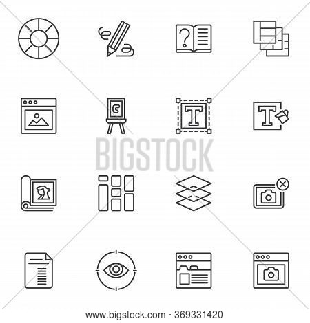Online Editorial Design Line Icons Set, Outline Vector Symbol Collection, Linear Style Pictogram Pac