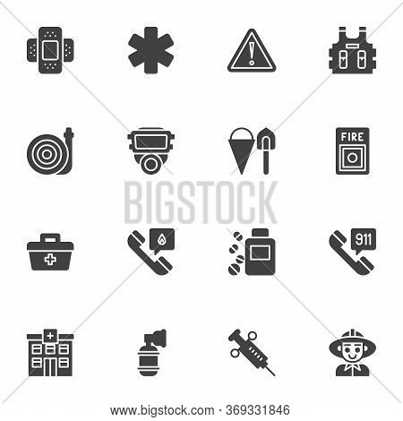 Emergency Service Vector Icons Set, Modern Solid Symbol Collection, Filled Style Pictogram Pack. Sig
