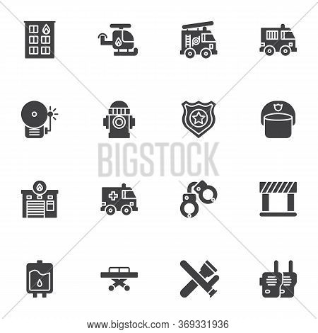 Emergency Services Vector Icons Set, Modern Solid Symbol Collection, Filled Style Pictogram Pack. Si