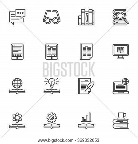 Literature Line Icons Set, Book Reading Outline Vector Symbol Collection, Linear Style Pictogram Pac