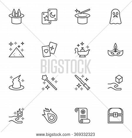 Magic Related Line Icons Set, Outline Vector Symbol Collection, Linear Style Pictogram Pack. Signs,