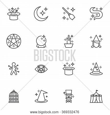 Magic Line Icons Set, Outline Vector Symbol Collection, Linear Style Pictogram Pack. Signs, Logo Ill