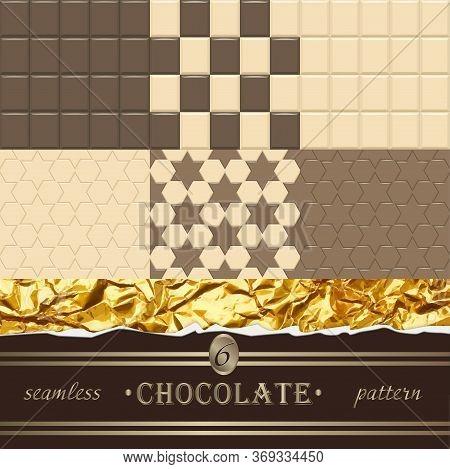 Chocolate. 6 Seamless Patterns. Vector Illustration Design Element