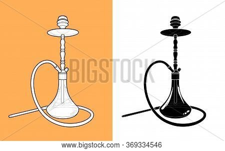 Hookah - A Coloring, And A Silhouette Of Black Color. Hookah - Stylized Illustration. Smoking Device