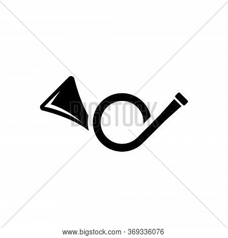 Post Horn, Music Brass Instrument, Trumpet. Flat Vector Icon Illustration. Simple Black Symbol On Wh