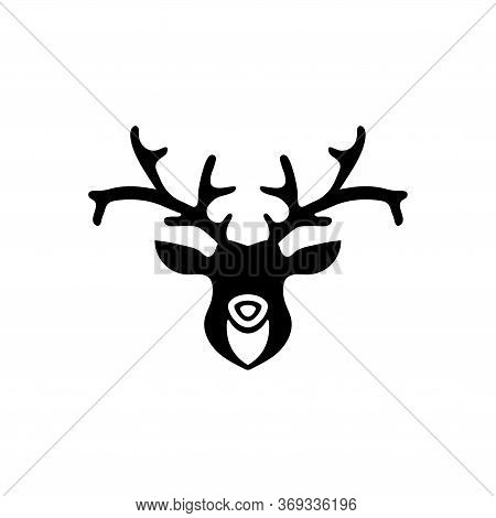 Horned Deer Head Silhouette, Reindeer. Flat Vector Icon Illustration. Simple Black Symbol On White B