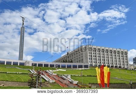 Samara, Russia - May 20, 2020. The Monument of Glory and Samara region government building