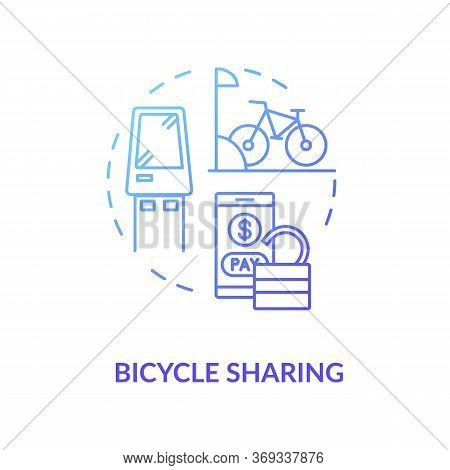 Bicycle Sharing Blue Gradient Concept Icon. Bike For Rent. Eco Friendly Urban Transit. Rental For Pu