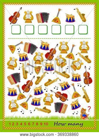 Math Education For Children. Logic Puzzle Game. Count Quantity Of Musical Instruments And Write Numb