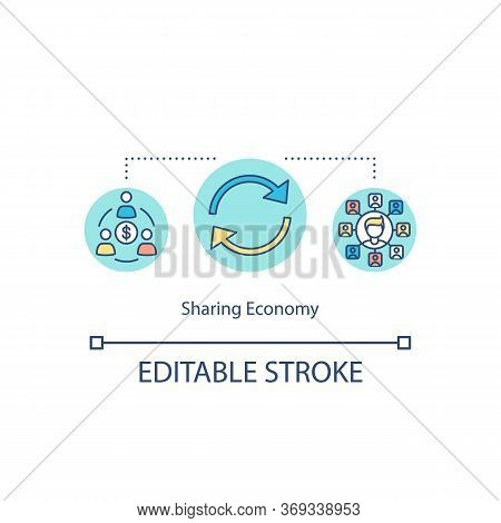Sharing Economy Concept Icon. Global Trade And Networking. Reuse Of Product. Collaborative Consumpti